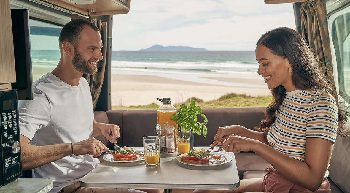 Maui Ultima 2 Berth Motorhome Interior Couple Eating