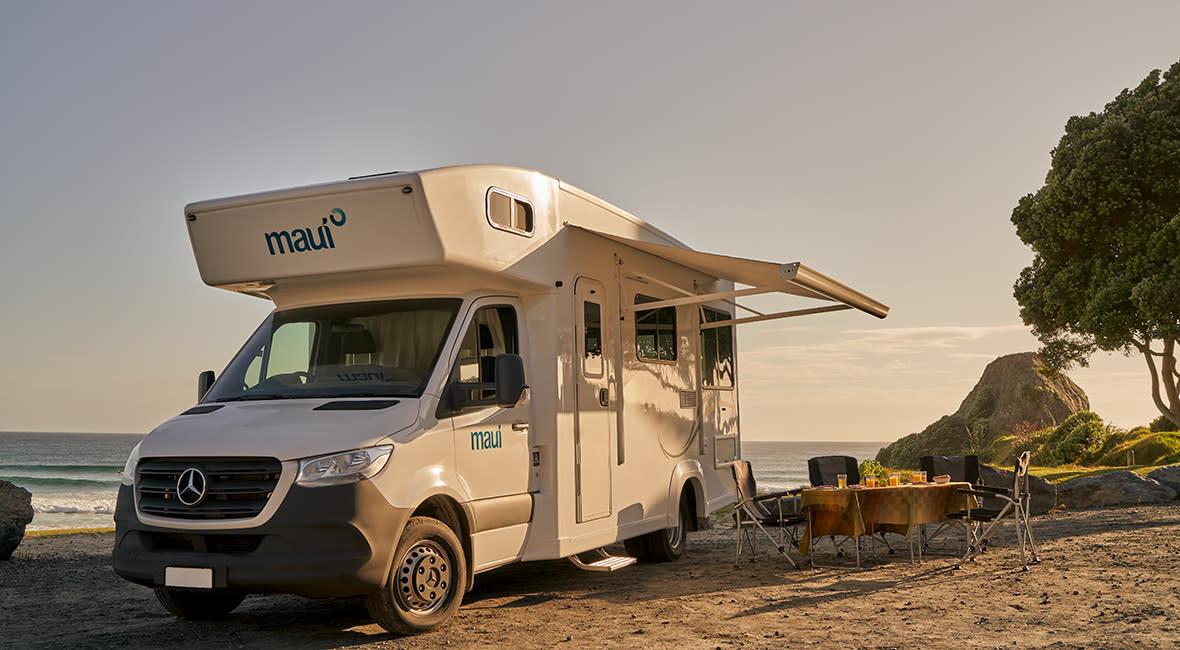 Maui Beach 4 Berth Motorhome Exterior Camping Setup