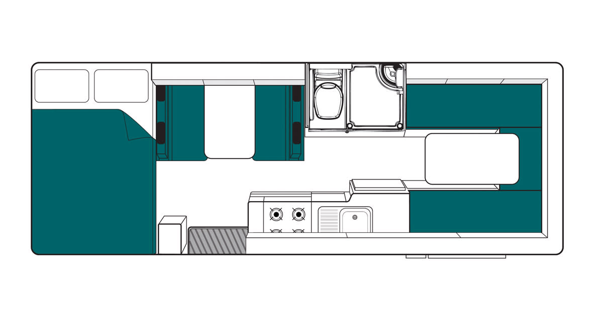 Maui Beach 4 Berth Motorhome Floorplan Day