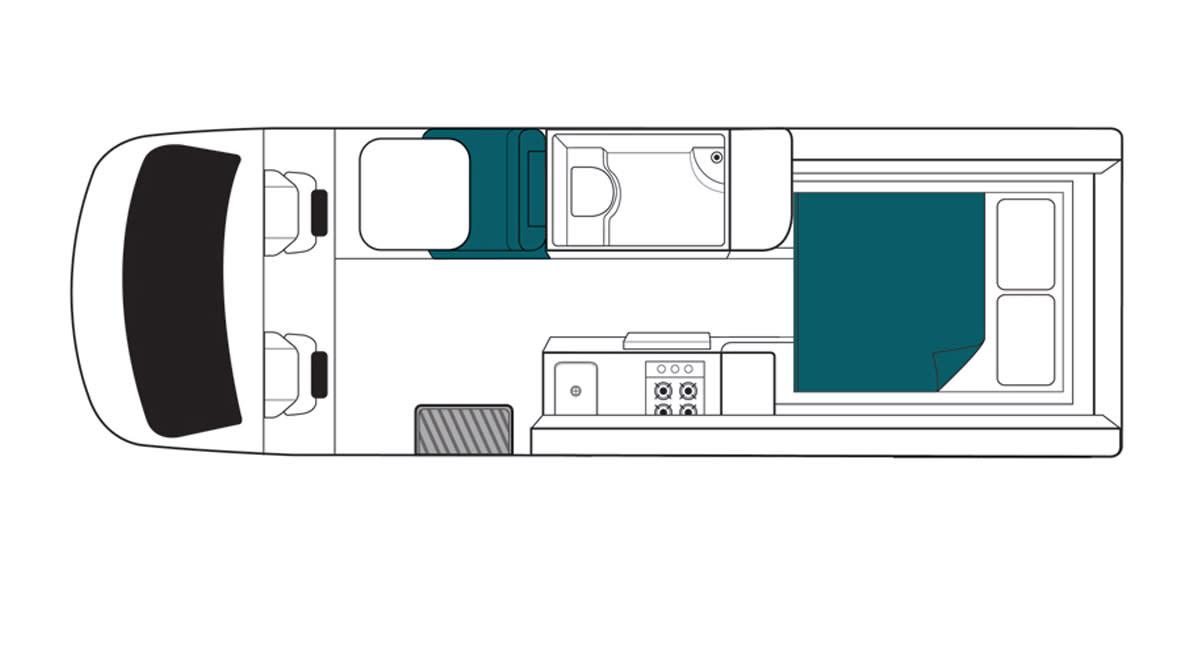 Maui Ultima 2 Berth Motorhome Floorplan Night