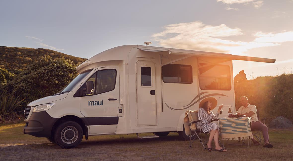 Maui Cascade 4 Berth Motorhome Exterior Sunset Couple