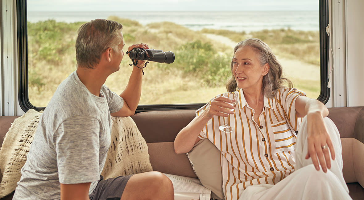Maui Cascade 4 Berth Motorhome Interior Rear Lounge Couple