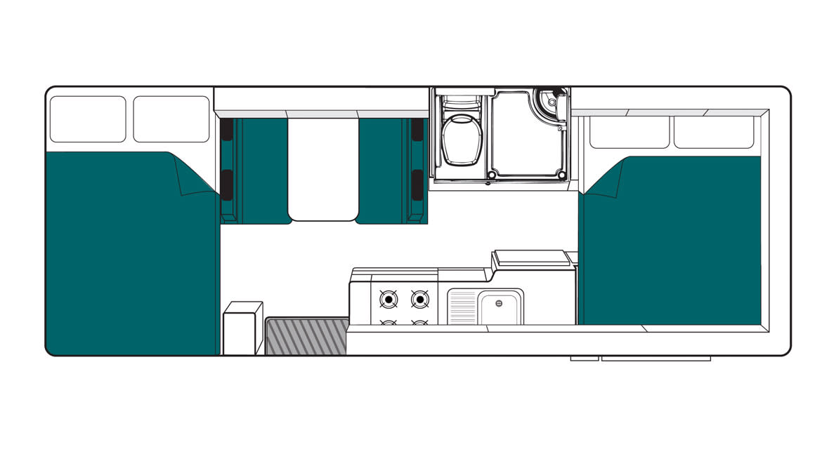 Maui Beach 4 Berth Motorhome Floorplan Night