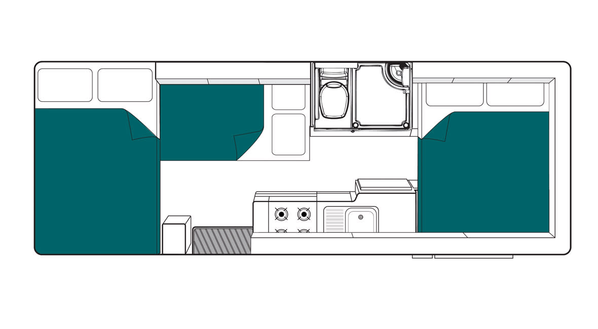 Maui River 6 Berth Motorhome Floorplan Night