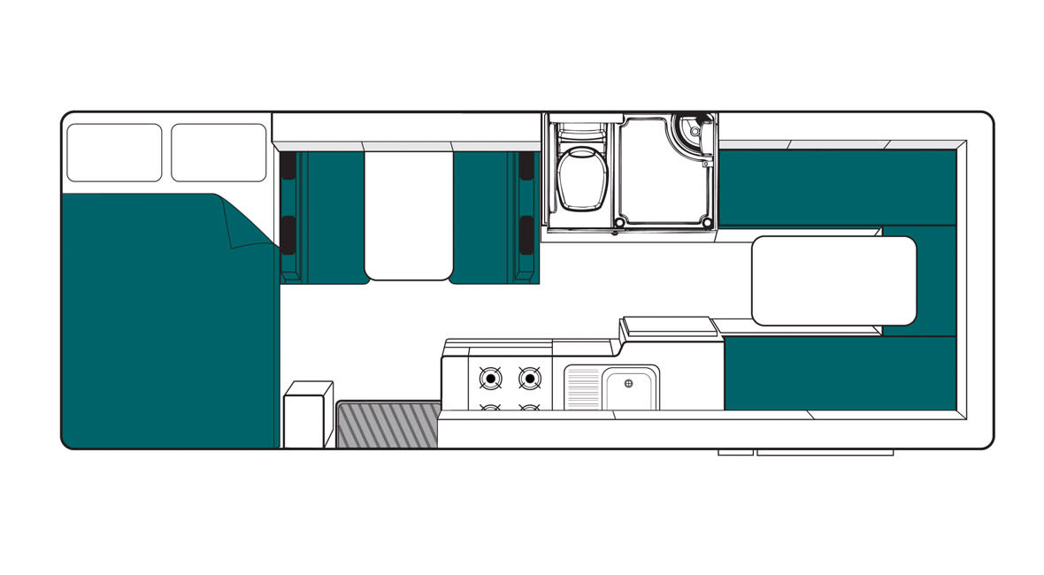 Maui River 6 Berth Motorhome Floorplan Day