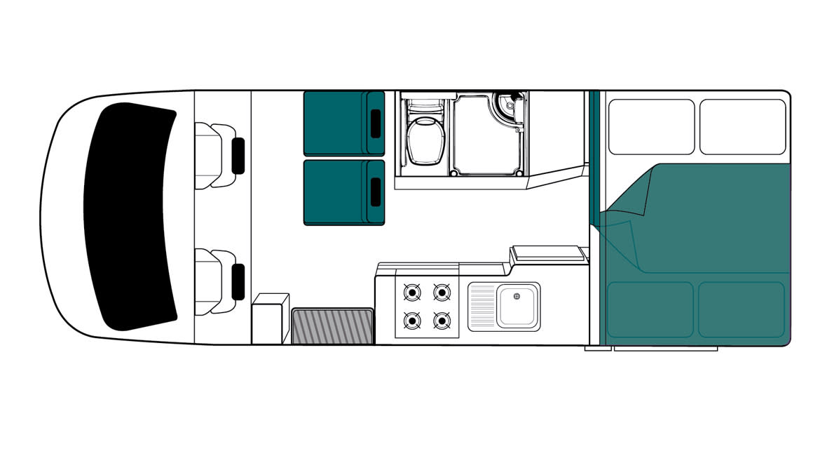 Maui Cascade 4 Berth Motorhome Floorplan Night