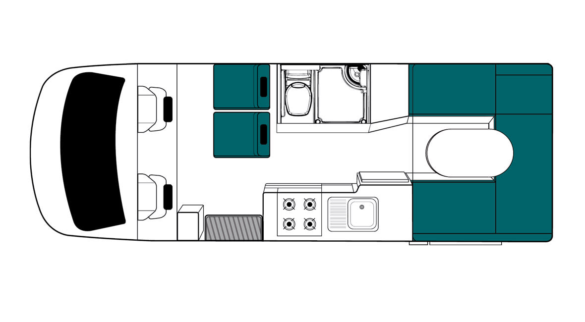 Maui Cascade 4 Berth Motorhome Floorplan Day