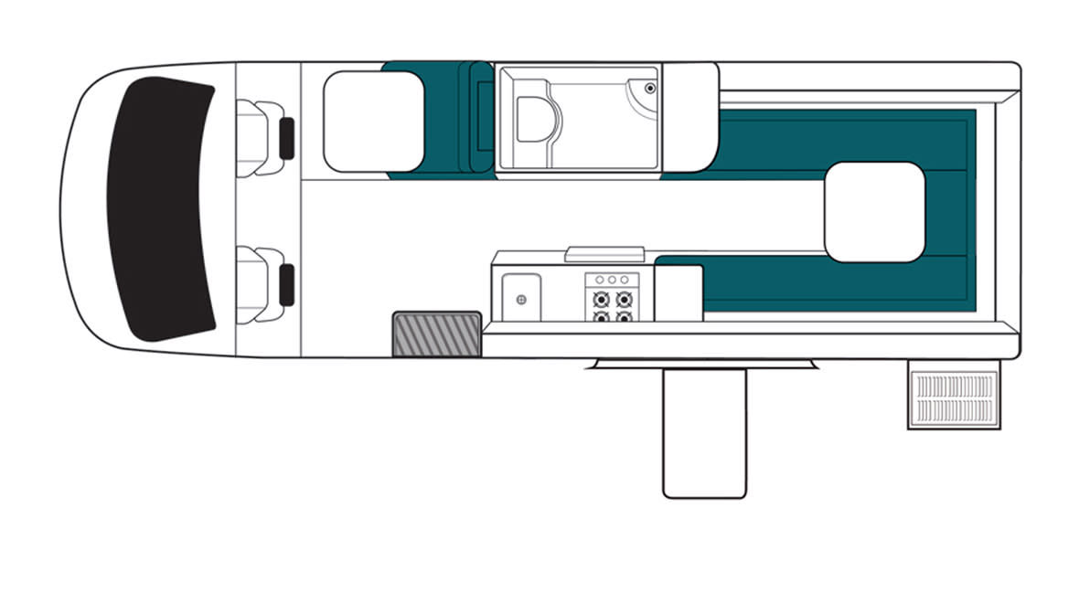 Maui Ultima 2 Berth Motorhome Floorplan Day