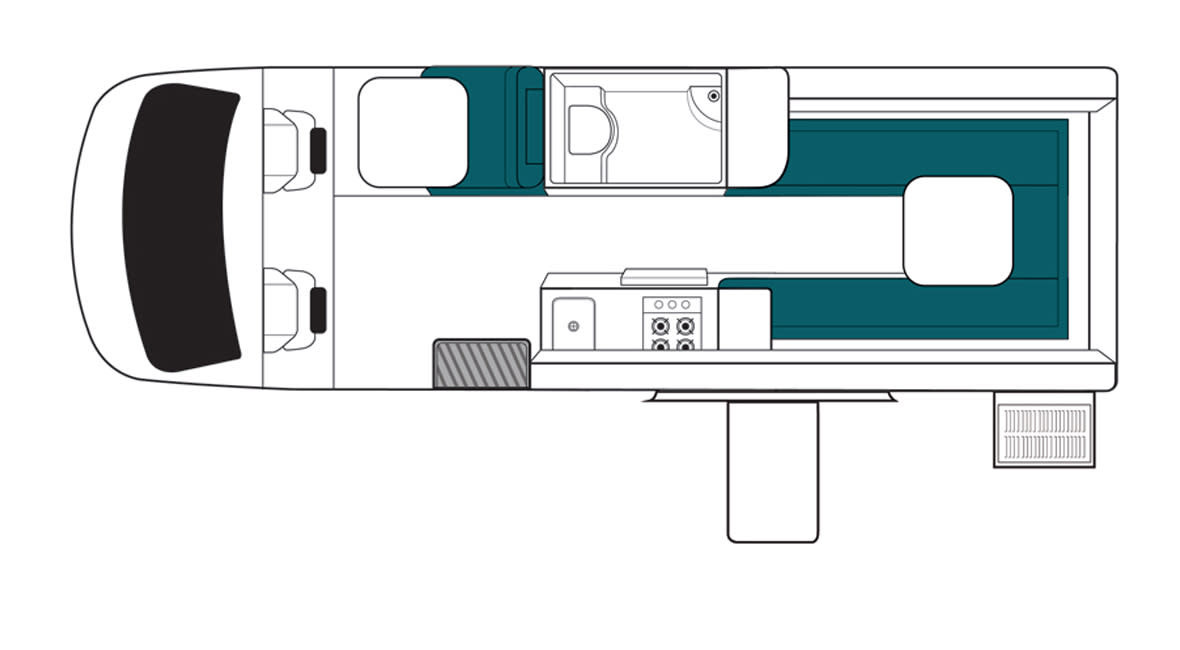 Maui Ultima Plus 3 Berth Motorhome Floorplan Day
