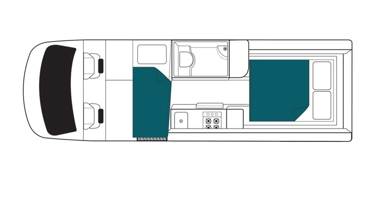 Maui Ultima Plus 3 Berth Motorhome Floorplan Night