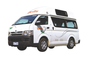 Side profile photo of the Britz 2 Berth HiTop Campervan