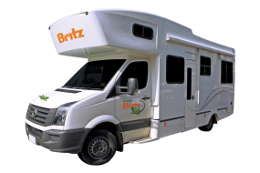 Side profile photo of the Britz 4 - 6 Berth Frontier Campervan
