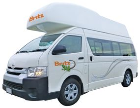 Side profile photo of the Britz 3 Berth HiTop Campervan