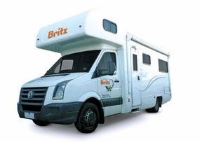 Side profile photo of the Britz 6 Berth Vista Campervan