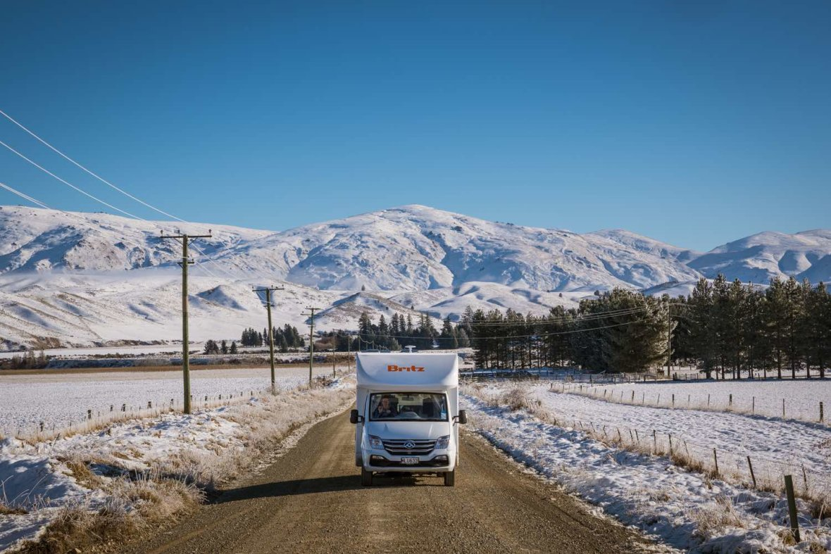 britz campervans discovery winter mountains