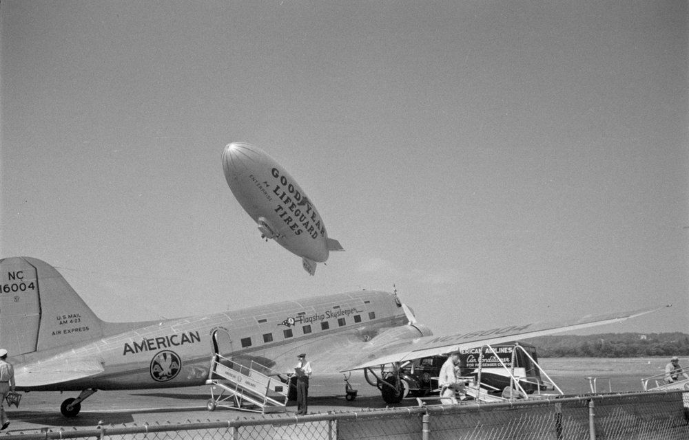 Black and white photo of an old airplane