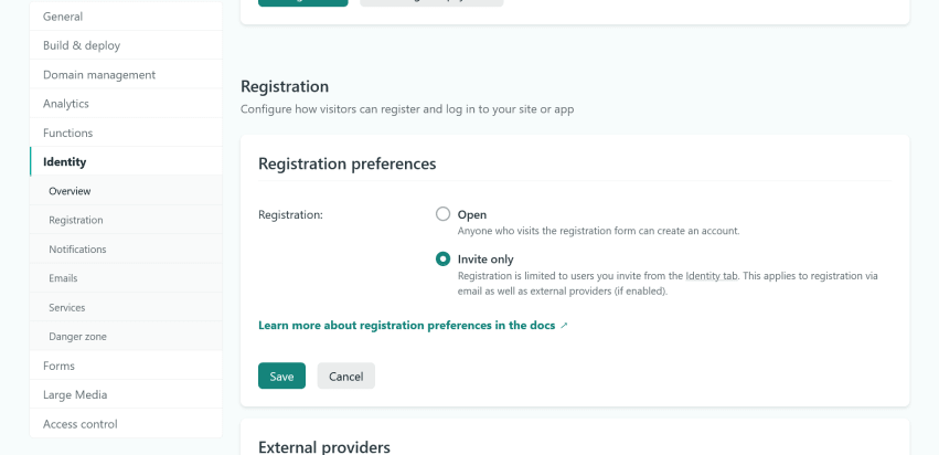 The registration preferences in the Netlify dashboard