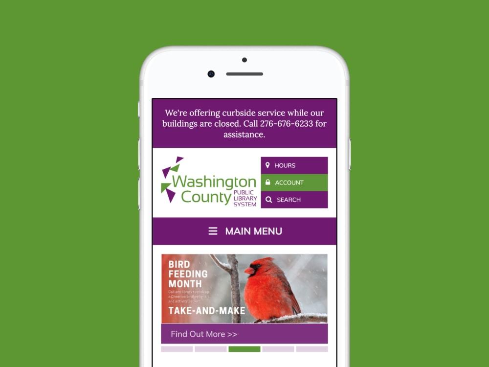 WCPL homepage screenshot on phone