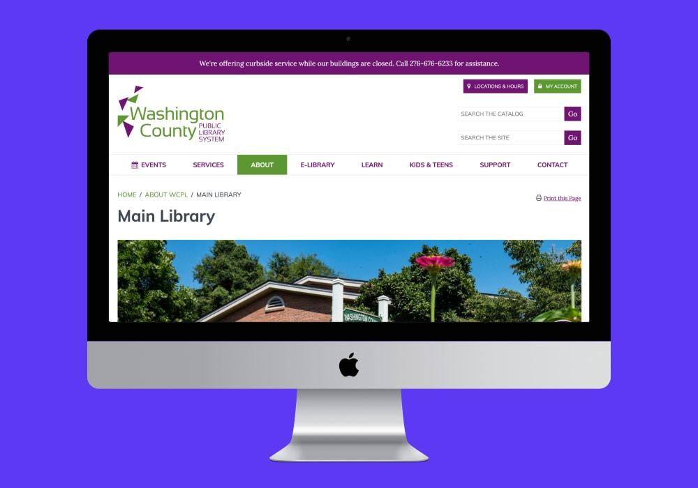 WCPL main branch page screenshot on desktop