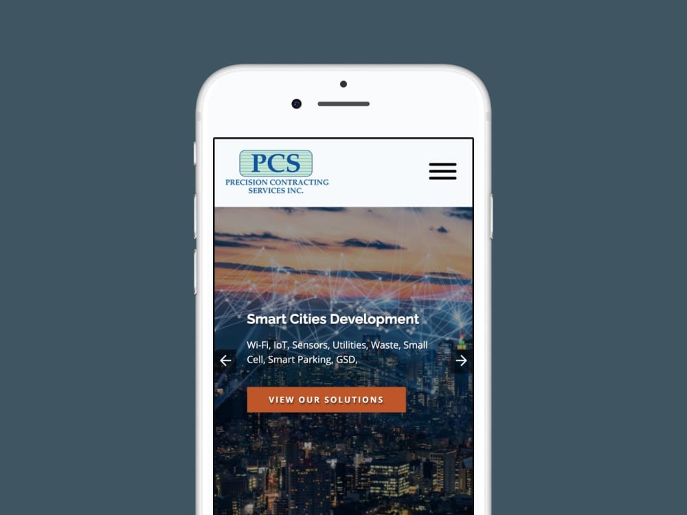 PCS homepage on mobile