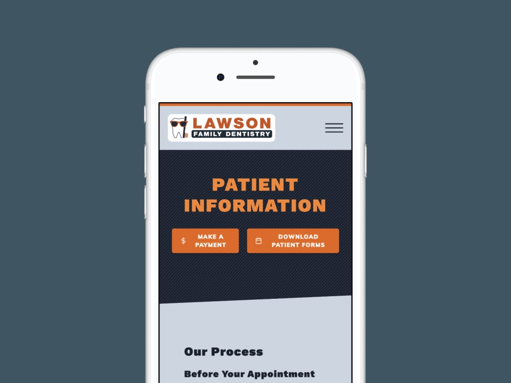 Patient Information page on mobile phone