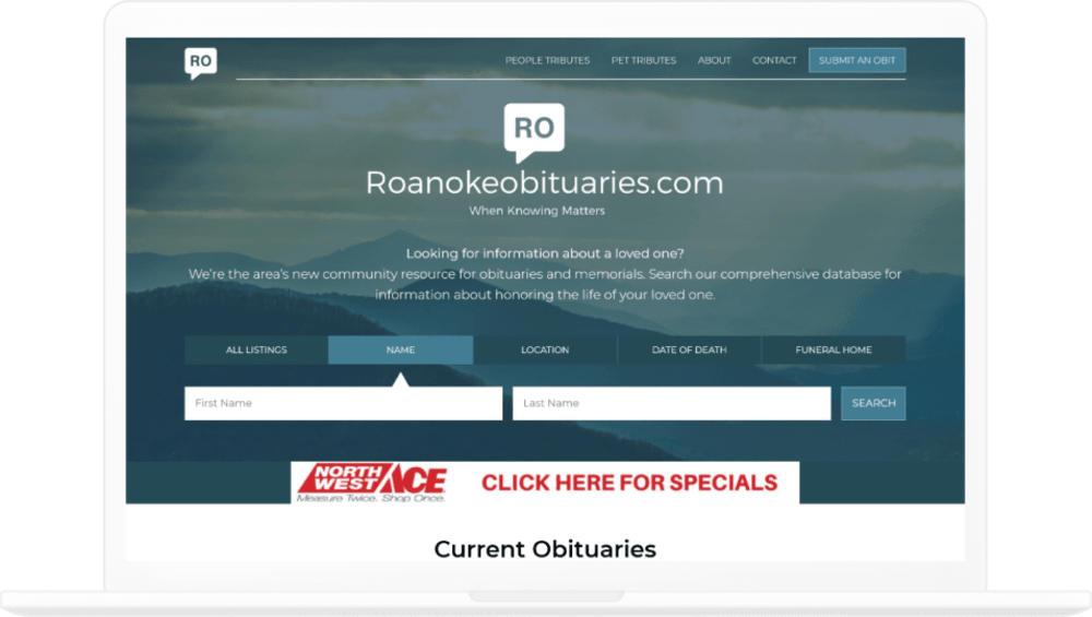 Roanokeobituaries.com Homepage