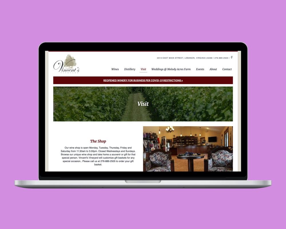 Vincent's Vineyard Visit Page
