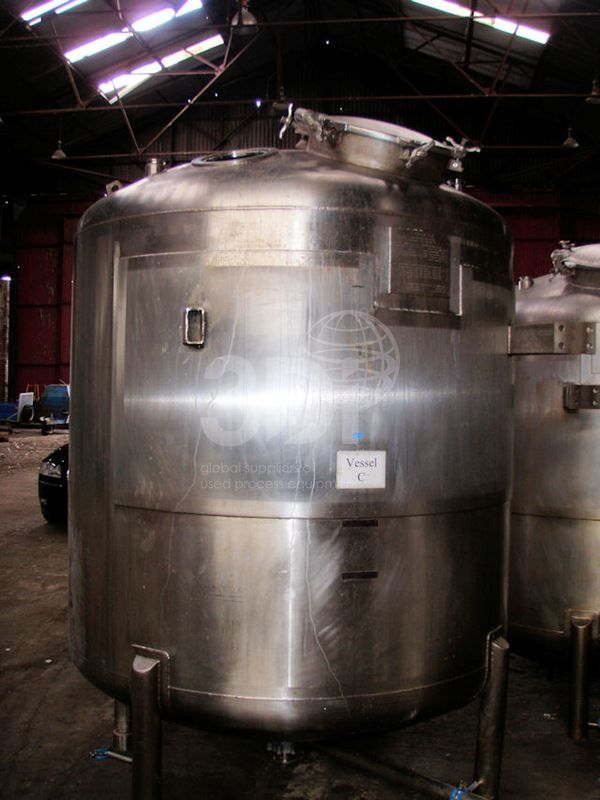 3,880 Litre Stainless Steel Pressure Vessel