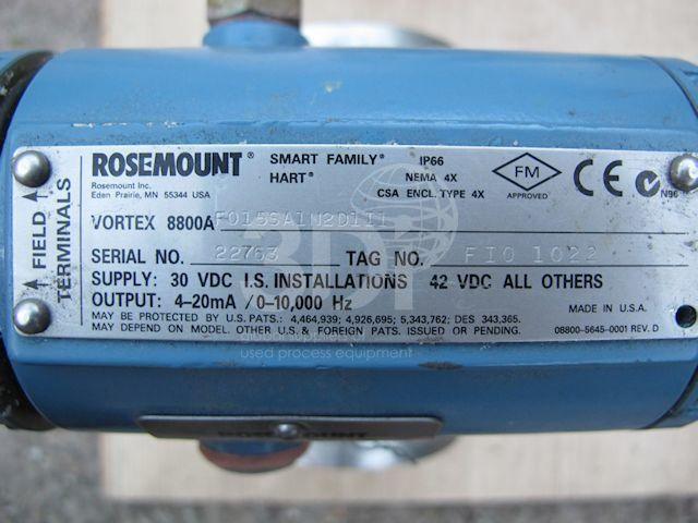Rosemount Vortex Flowmeter Model 8800A nameplate
