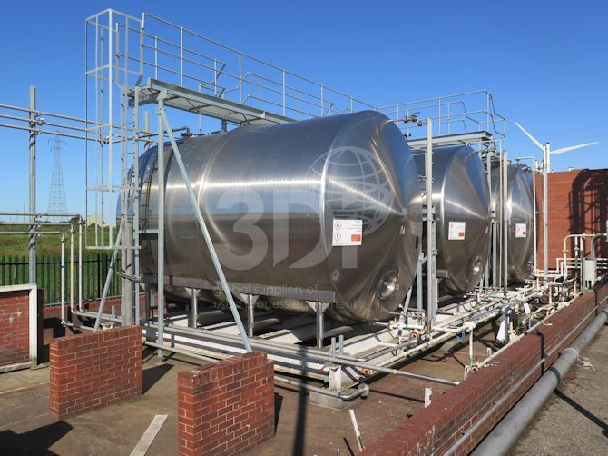 image of 50000 litre horizontal stainless storage tank