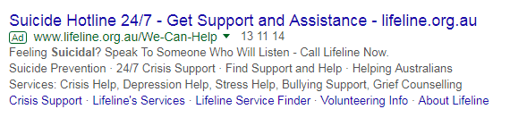 Lifeline Canberra's Google Search Ad Campaign