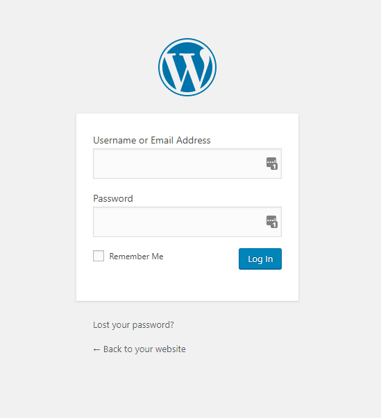The WordPress Login Screen - available at /wp-admin, or /wp-login.php on your WordPress site.