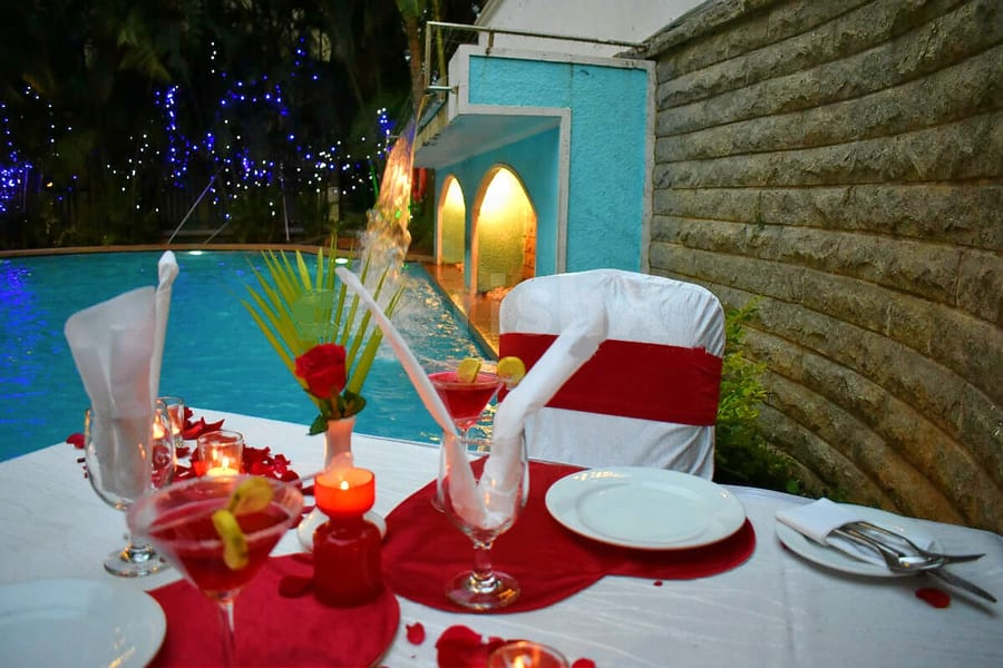 Poolside Candle Light Barbeque Dinner In Bangalore Image