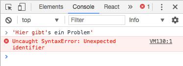 """Die Konsole wirft den Fehler: """"Uncaught SyntaxError: Unexpected identifier"""""""