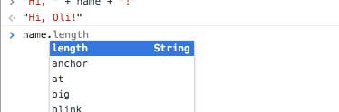 """In Chrome wird der Eintrag """"length"""" direkt als erstes angezeigt"""