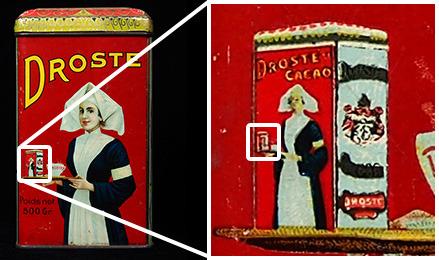 Die Droste Kakao Dose zeigt eine Frau, die eine Droste Kakao Dose hält, die eine Frau zeigt, die eine Droste Kakao Dose hält.