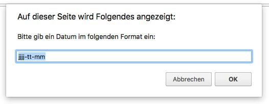 """Ein Eingabefenster zeigt: """"Gib ein Datum in folgendem Format ein:"""" In der Eingabezeile steht bereits das Format """"jjjj-tt-mm"""""""