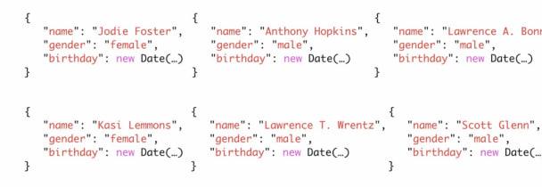 """Jeder Eintrag in der Datenbank enthielt die Keys """"name"""", """"gender"""" und """"birthday"""""""