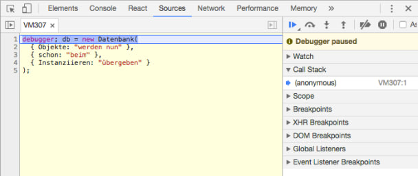 Ansicht des Debuggers in Chrome