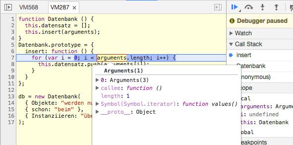 Durch den Tooltip des arguments-Wert wird ersichtlich, dass alle Parameter vom Konstruktor in Form eines einzelnen Argumente-Objekts der insert-Methode übergeben wurden