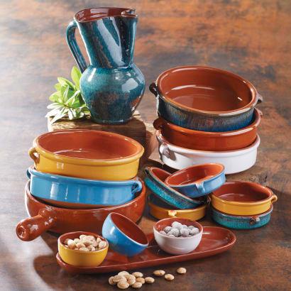 Reactive Green Terra Cotta Cazuelas – 6 Inches (4 Dishes)