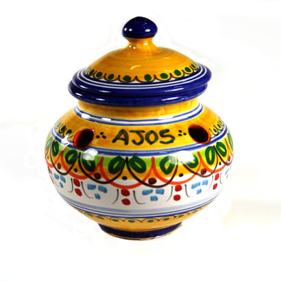 Blue and Yellow Ceramic Garlic Jar