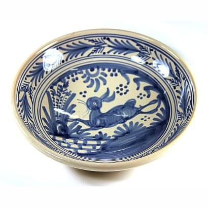 Hand-Painted Golondrina Soup Bowl, Rabbit Design - 9 Inches