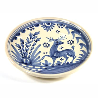 Hand-Painted Golondrina Salad/Tapas Plate, Stag Design - 8 Inches