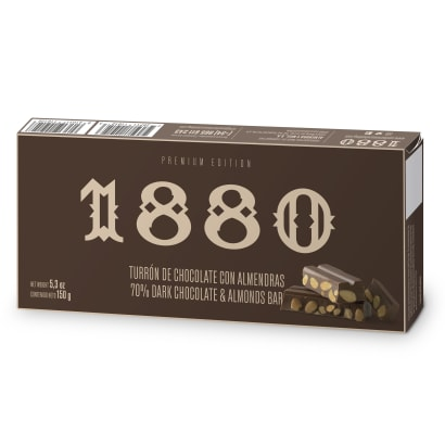 Dark Chocolate Turrón with Almonds by 1880 - 5.3 Ounces