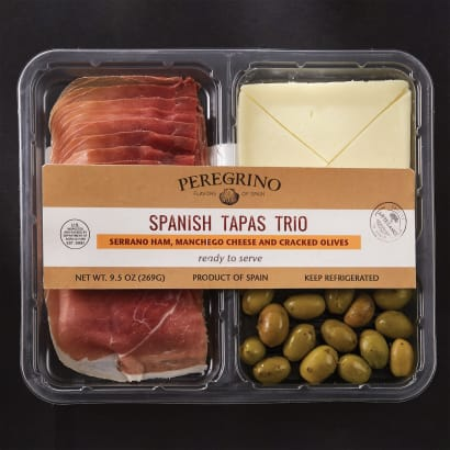 Tapas Tasting Tray with Jamón, Manchego Cheese and Cracked Olives