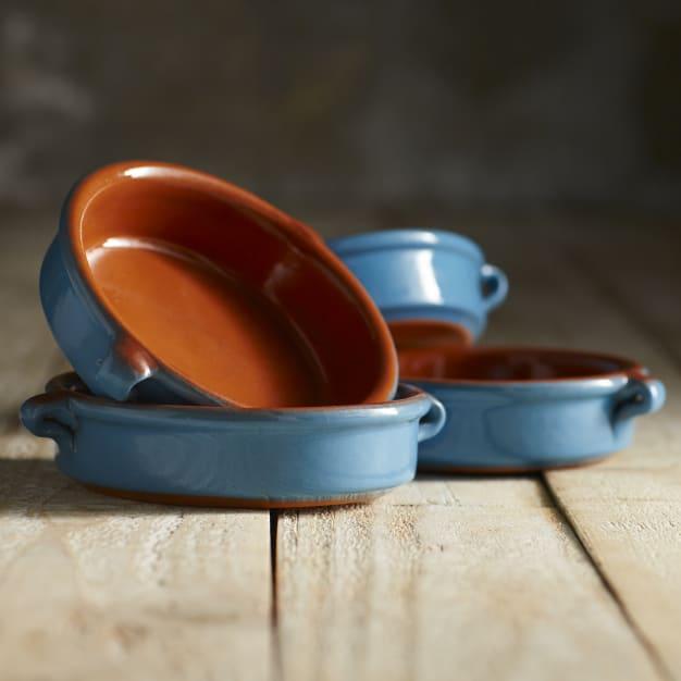 Image for Mediterranean Blue Terra Cotta Cazuelas - 4.5 Inches (4 Dishes)