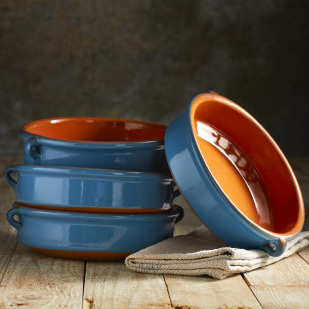 Image for Mediterranean Blue Terra Cotta Cazuelas - 8 Inches (4 Dishes)