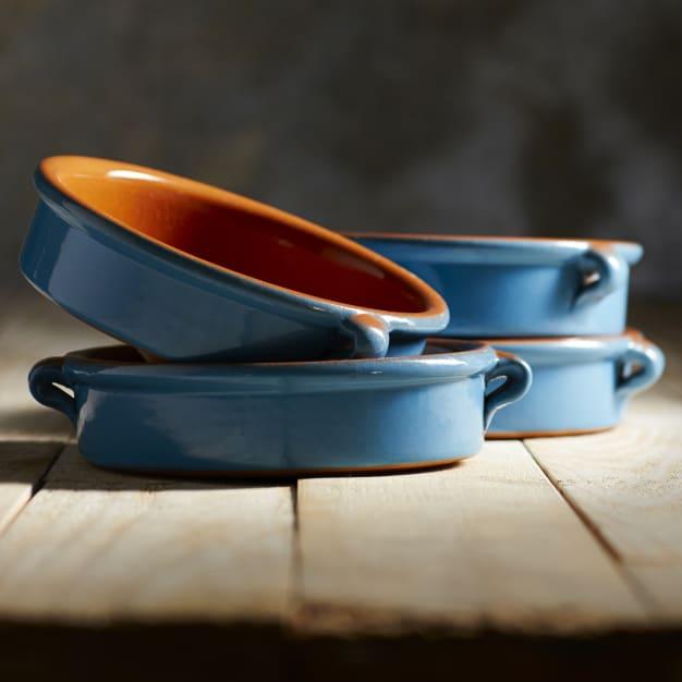 Image for Mediterranean Blue Terra Cotta Cazuelas – 6 Inches (4 Dishes)