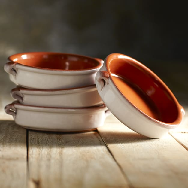 Image for Cloud White Terra Cotta Cazuelas - 4.5 Inches (4 Dishes)